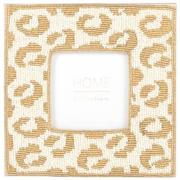 Cadre photo à perles dorées et blanches 10x10