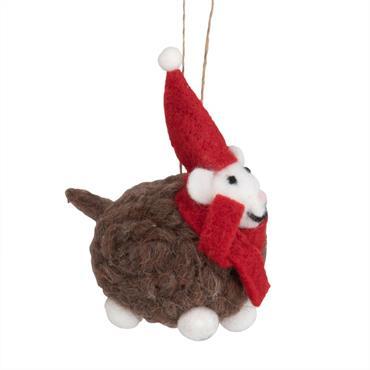 Suspension de Noël mouton en laine