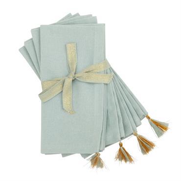 Serviettes en coton bleu clair et doré 40x40