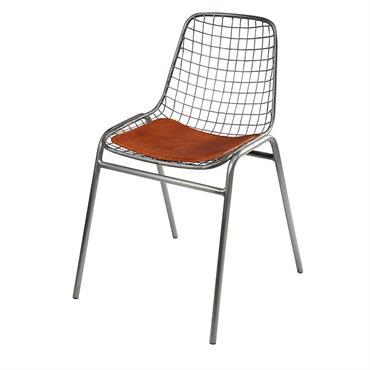 Chaise en métal et cuir de vachette camel Picpus