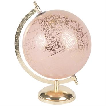 Globe terrestre carte du monde rose et doré