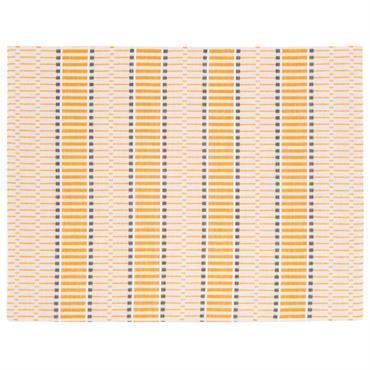 Set de table en coton motifs à rayures blancs et jaunes