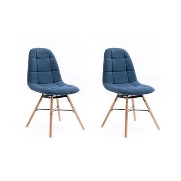 Lot de 2 chaises matelassées en tissu bleu pétrole