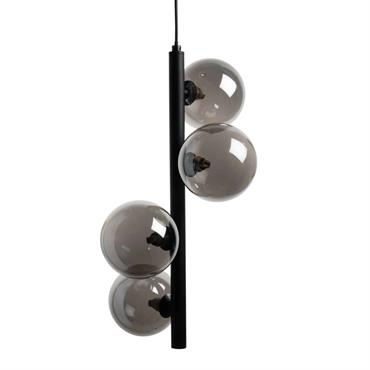 Suspension en métal noir 4 boules en verre teinté noir