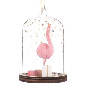 Suspension de Noël sous cloche en verre décor flamant rose