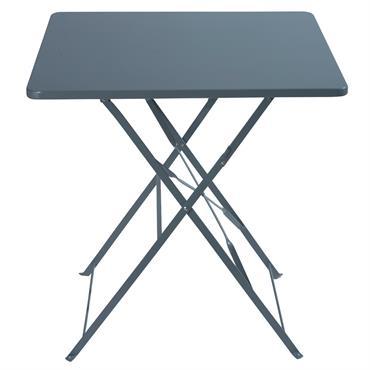 Table de jardin pliante en métal époxy gris 2 personnes L70 Guinguette