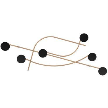 Patère 6 crochets en métal doré et noir