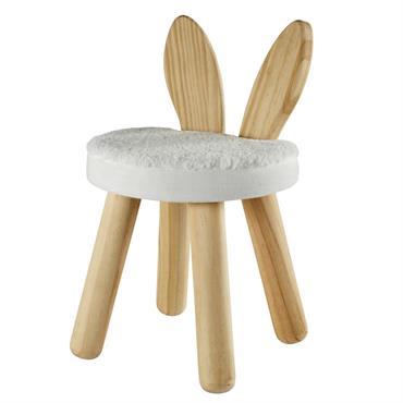 Tabouret lapin enfant blanc en pin