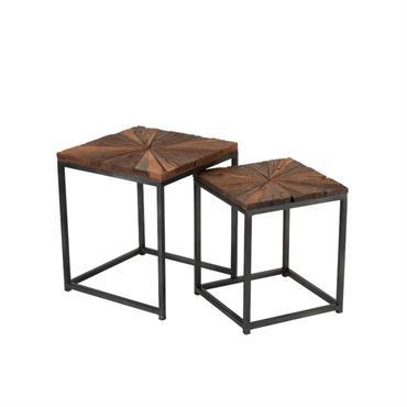 Lot de 2 tables basses carrées en bois et métal