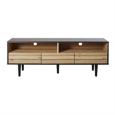 Faites voyager votre déco grâce au meuble TV 3 tiroirs bicolore à motifs peints MAYANA . Vous allez très vite tomber sous le charme de ses façades de tiroirs peintes ...