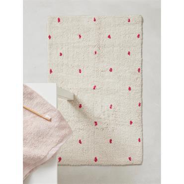 Tapis de bain à pois blanc/pois rose