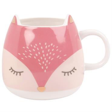 Mug renard en porcelaine rose et blanche