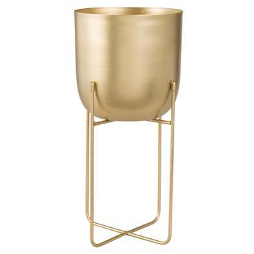 Cache-pot sur pieds en métal doré H40