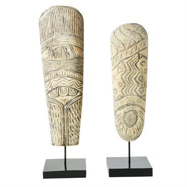 2 statues en acacia sculpté et socle en métal noir H77