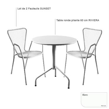 Ensemble table Riviera et 2 fauteuils Sunset