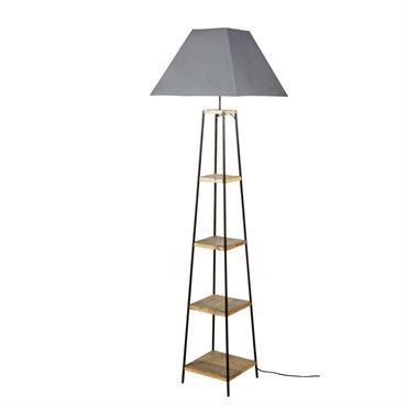 Lampadaire étagère en jujubier et abat-jour gris H172