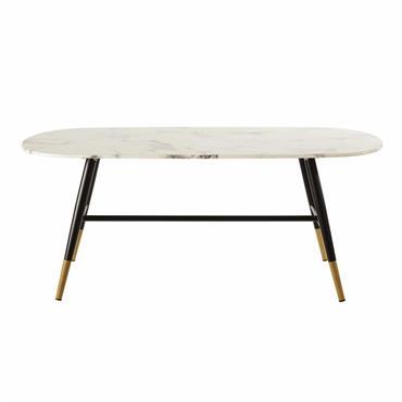 C'est vrai que les dimanches matin seraient plus agréables que les samedis soir si la table basse en verre trempé effet marbre RHEA faisait partie du décor. Elle permettrait que ...