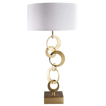 Lampe en métal doré et coton blanc SYMPHONIE