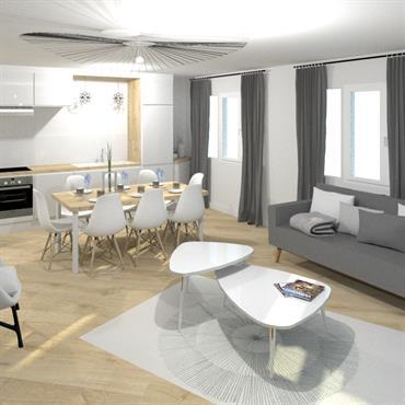 Rénovation d'une pièce de vie et autres pièces de l'habitation au centre-ville de Lyon. Dominante de bois et de blanc ... Domozoom
