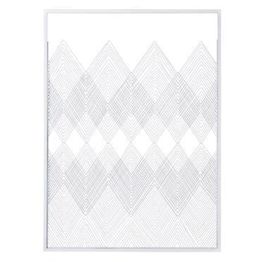 Déco murale en fil de métal blanc 80x110