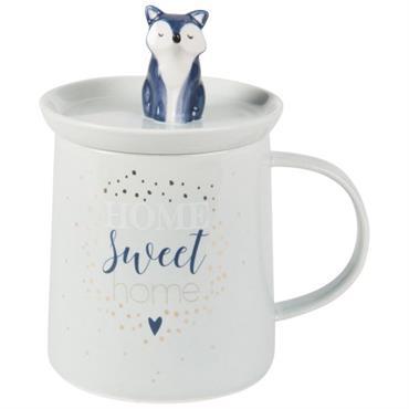 Mug avec couvercle renard en porcelaine bleu ciel