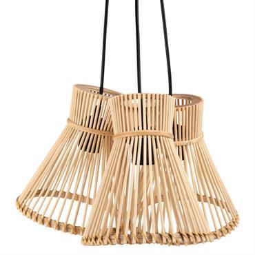 Suspension triple en bambou filaire jaune