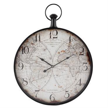 Horloge gousset en métal imprimé carte du monde 50x65