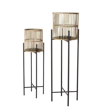Lanternes en métal noir et bambou