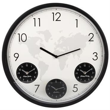 Horloge 4 cadrans en métal noir et blanc D48