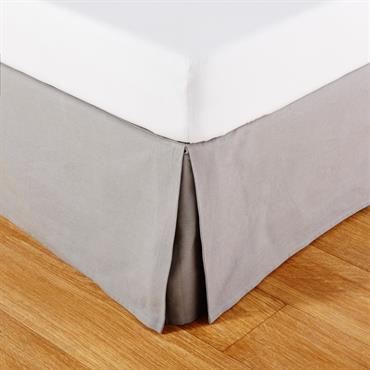 Cache-sommier 180x200 en coton gris