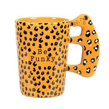 Mug en faïence jaune et noire motifs léopard