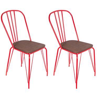 Lot de 2 Chaises Métalliques Rouges