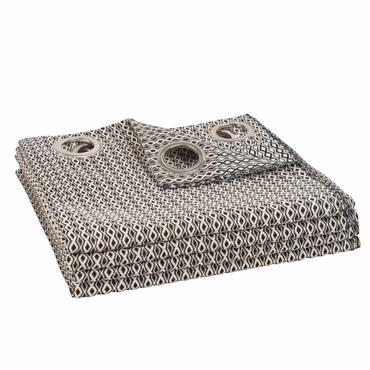 Rideau à illets en coton motifs noirs et blancs 140x250