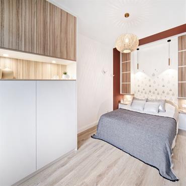 Cette petite chambre était au départ destinée à un usage de bureau / chambre d'amis. Aujourd'hui, l'espace a été optimisé ... Domozoom