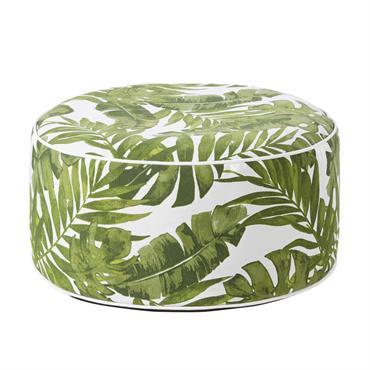 Pouf d'extérieur gonflable blanc imprimé végétal
