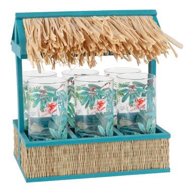 Support cabane avec 6 verres imprimé tropical