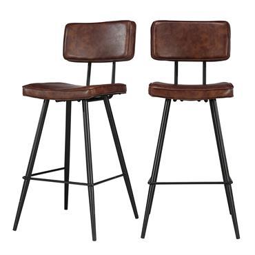 Chaise de bar mi-hauteur 65 cm cuir synthétique marron