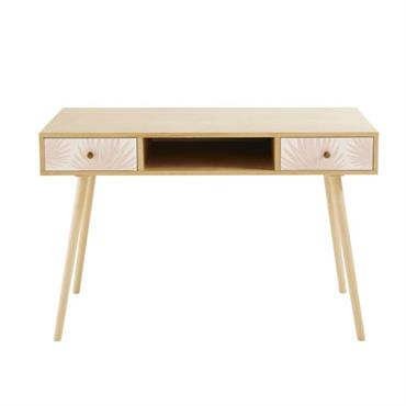 Avec le bureau vintage 2 tiroirs rose pâle à motifs MAYA , les plus studieuses pourront travailler avec style ! Ses atouts ? Ses pieds obliques caractéristiques de l'esprit rétro ...
