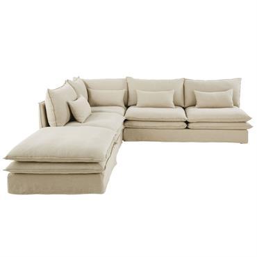 Pouf de canapé en lin Pompei
