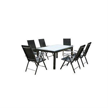 Ravenne est un magnifique salon de jardin 6 places composé d'une table en aluminium recouverte d'une belle plaque de verre noire d'une épaisseur de 5 mm. Elle mesure 75 cm ...