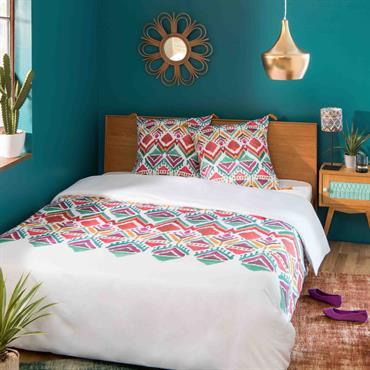 Parure de lit en coton imprimé ethnique multicolore 220x240