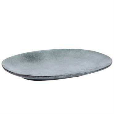 Plat ovale en faïence grise