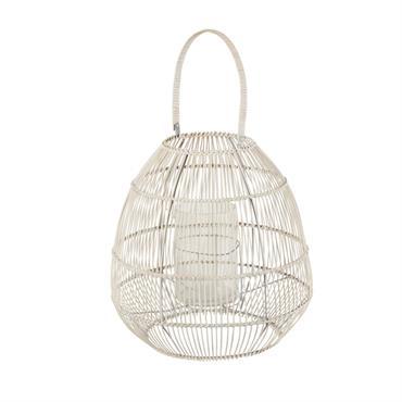 Lanterne en bambou tressé blanchi H39