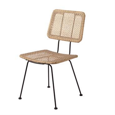 Chaise en métal noir et résine effet rotin Penida