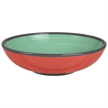 Assiette creuse en faïence verte et rouge