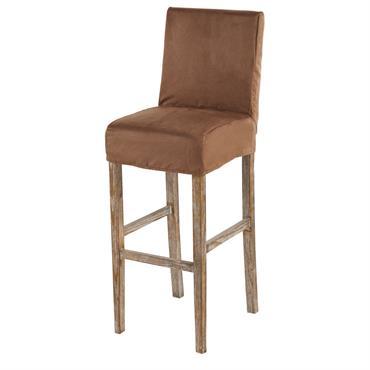 Housse de chaise de bar en suédine chocolat