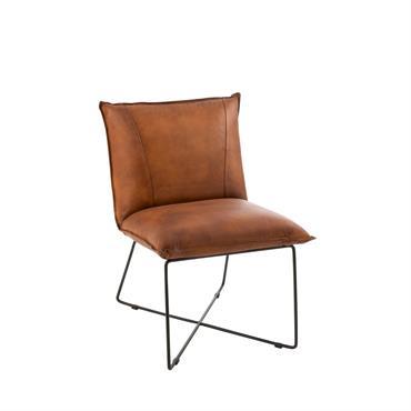 Petit fauteuil design en cuir Marron