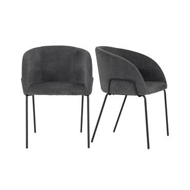 Lot de 2 chaises rembourées avec accoudoirs BUDDY
