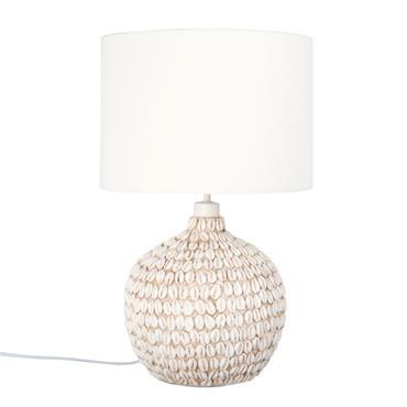 Lampe imitation coquillages et abat-jour blanc