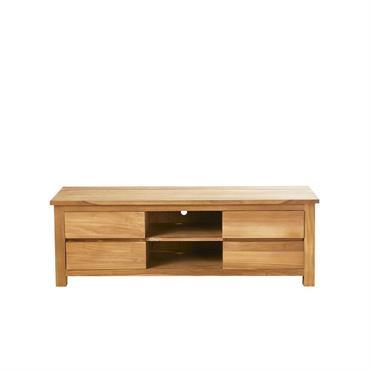 Meuble TV 4 tiroirs et 2 niches en teck